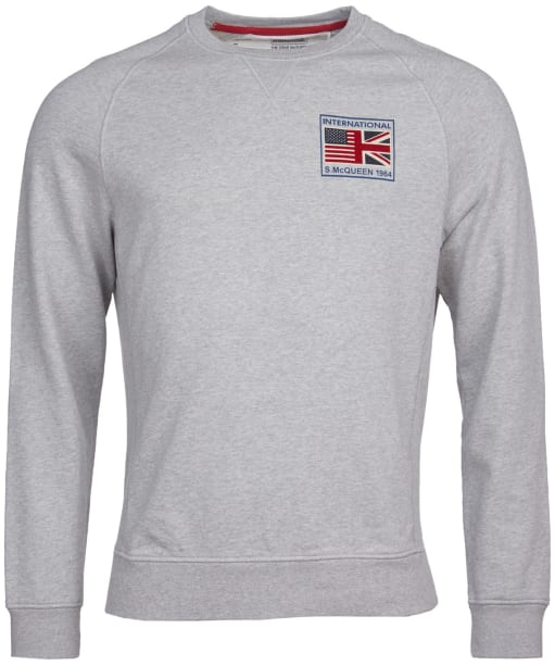 Men's Barbour International Steve McQueen Team Flags Sweat - Grey Marl