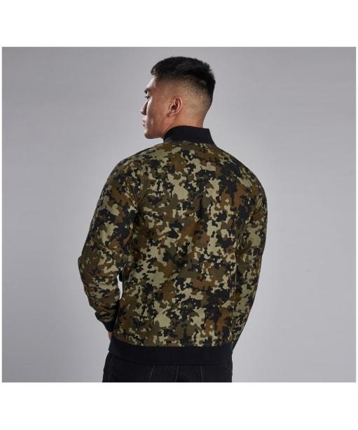 Men's Barbour International Hex Camo Zip Thru Jacket - Jungle Green