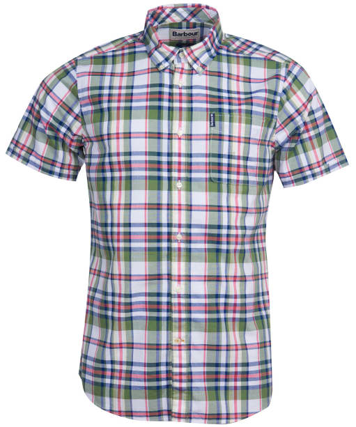Men's Barbour Madras 5 S/S Tailored Shirt - Green Check