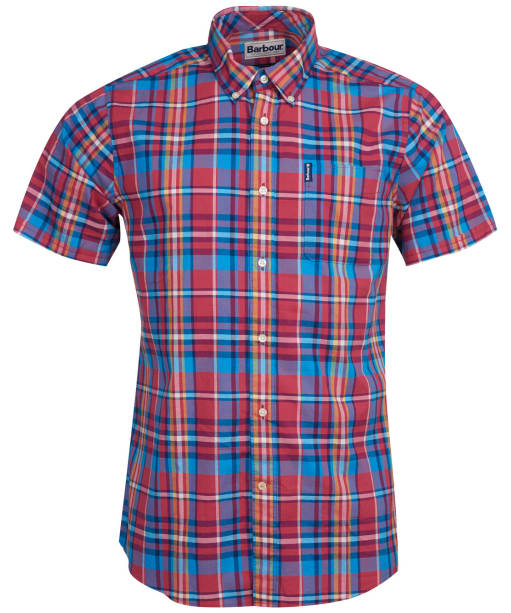 Men's Barbour Madras 5 S/S Tailored Shirt - Red Check