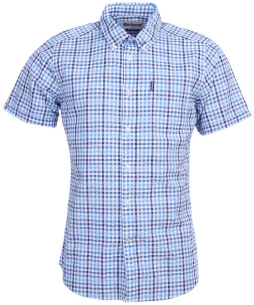 Men's Barbour Seersucker 6 S/S Tailored Shirt - Navy