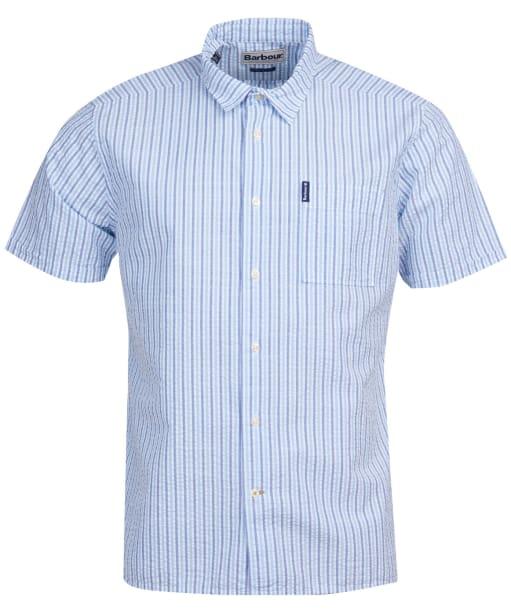 Men's Barbour Seersucker 8 S/S Summer Shirt - Blue Stripe