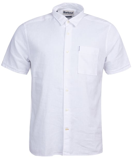 Men's Barbour Linen Mix 1 S/S Summer Shirt - White