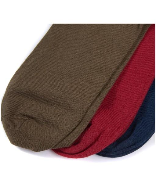 Men's Barbour Saltire 3 Pack Socks - Navy / Red / Olive