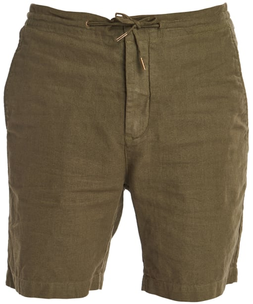 Men's Barbour Linen Mix Shorts - Military Green