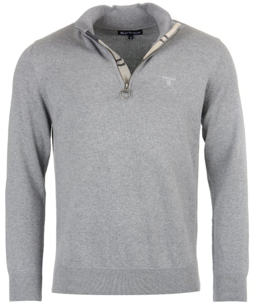 Men's Barbour Cotton Half Zip Sweater - Grey Marl
