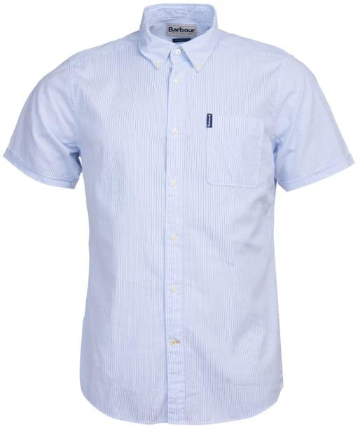 Men's Barbour Seersucker 5 S/S Tailored Shirt - Sky