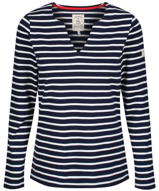 Women's Joules Harbour Notch Neck Top - Navy / Cream Stripe