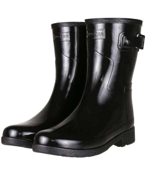 Women's Hunter Original Short Refined Gloss Wellington Boots - Black