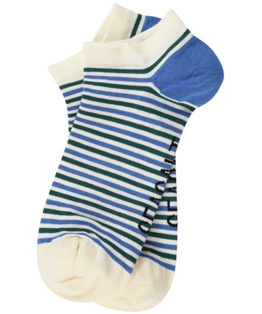 Women's Seasalt Everyday Trainer Socks - Mini Duet Waterfront Ecru