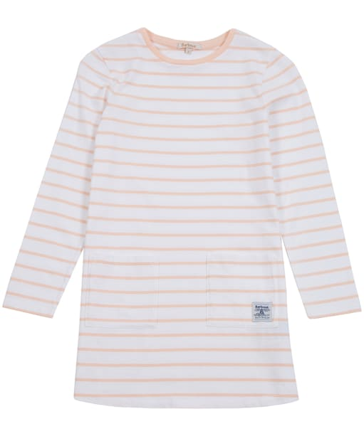 Girl's Barbour L/S Striped Dress, 2-9yrs - Pale Coral