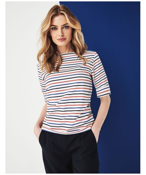 Women's Crew Clothing Orchid Stripe Top - Navy / Red / Ultramarine