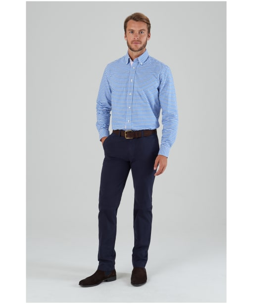 Men's Schöffel Soft Oxford Shirt - Pale Blue Gingham