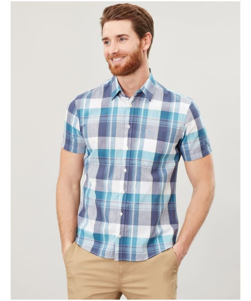 Men's Joules Wilson Short Sleeved Shirt - White / Green Check
