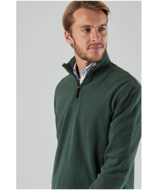 Men's Schöffel Cotton French Ribbed ¼ Zip Sweater - Sage