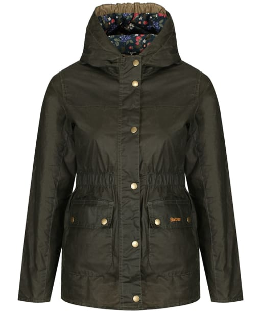 Girls Barbour Hamlet Waxed Jacket, 6-9yrs - Archive Olive