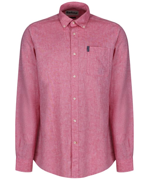 Men's Barbour Linen Mix 1 Tailored Shirt - Red