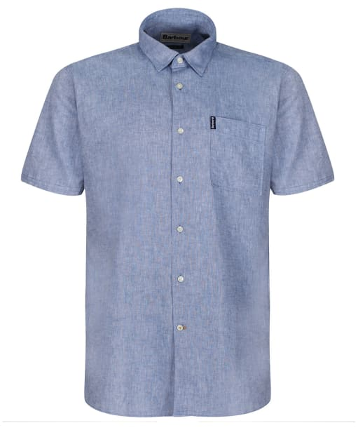 Men's Barbour Linen Mix 1 S/S Summer Shirt - Blue