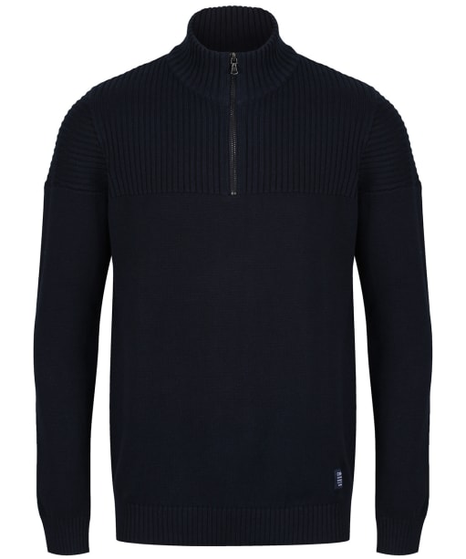 Men's Crew Clothing Textured Half Zip Jumper - Dark Navy