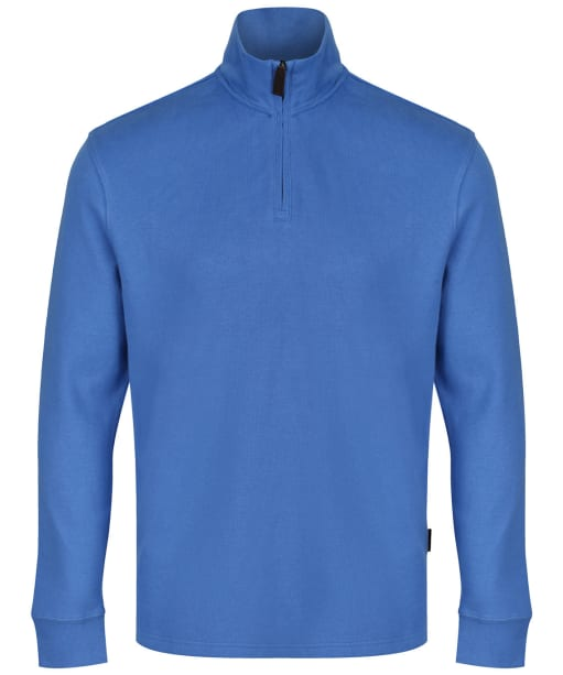 Men's Schöffel Cotton French Ribbed ¼ Zip Sweater - Cornflower Blue