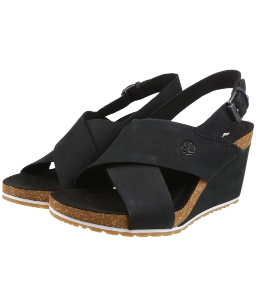 Women's Timberland Capri Sunset X-Band Wedge Sandals - Black Nubuck