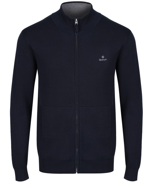 Men's GANT Classic Cotton Zip Cardigan - Evening Blue