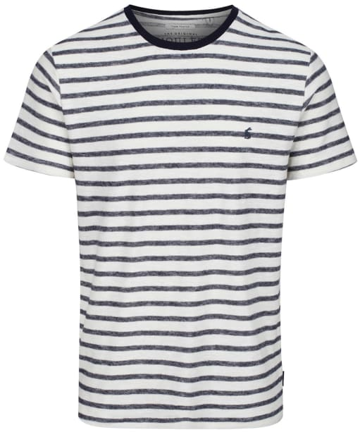 Men's Joules Textured Stripe T-Shirt - Cream / Navy Stripe