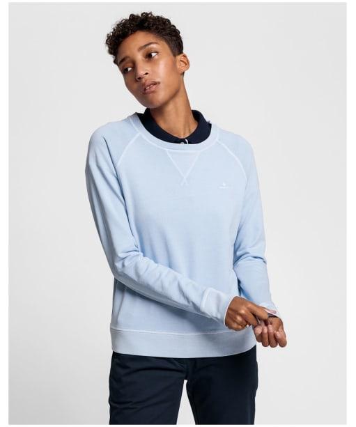 Women's GANT Sunfaded Crew Neck Sweatshirt - Hamptons Blue