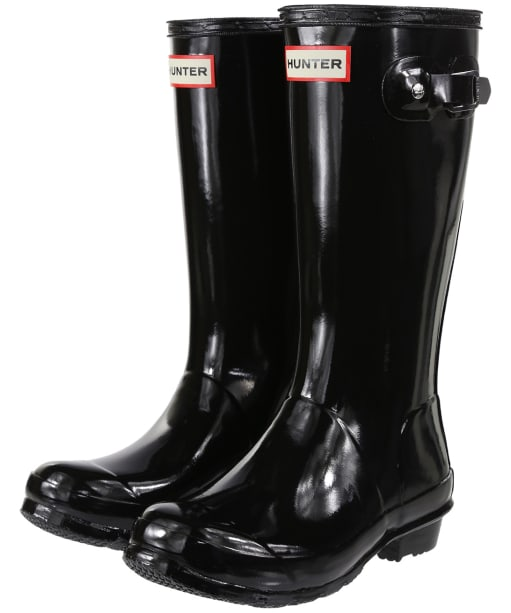 Hunter Original Kids Gloss Wellington Boots, 12-4 - Black