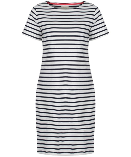 Women's Joules Riviera Short Sleeve Jersey Dress - Cream / Navy Stripe