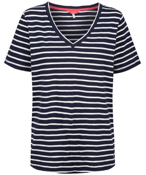 Women's Joules Celina Stripe Drapey V-neck T-shirt - Navy / Cream Stripe
