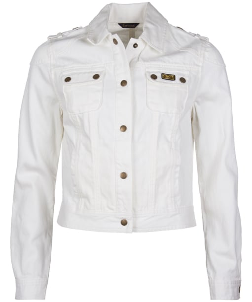 Women's Barbour International Durness Casual Denim Jacket - White