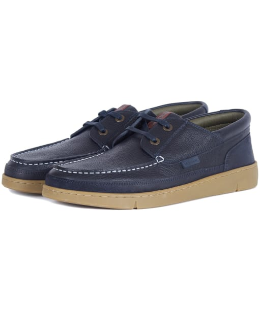 Men's Barbour Joey Leather Shoes - Navy Tumbled Leather