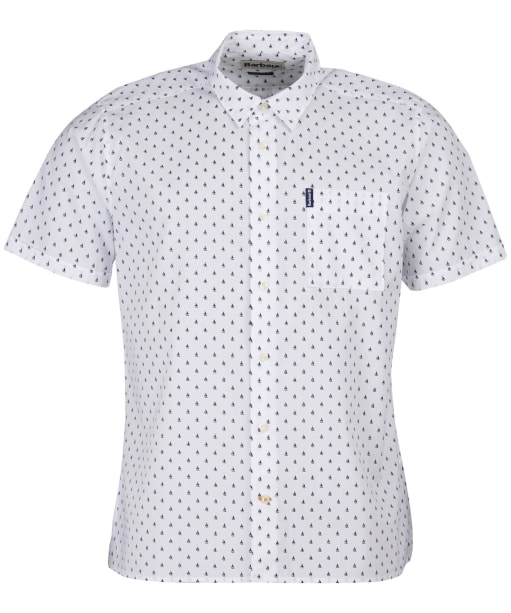Men's Barbour Summer Print S/S Shirt - White Print