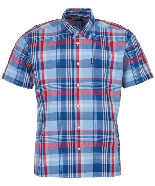 Men's Barbour Linen Mix 4 S/S Summer Shirt - Sky Check