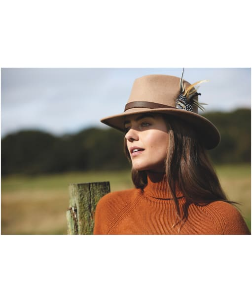 Women's Hicks & Brown The Suffolk Fedora - Guinea and Pheasant Feather - Camel