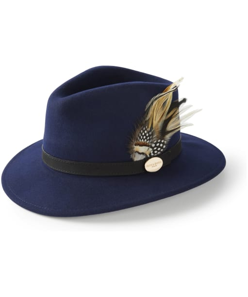 Women's Hicks & Brown The Suffolk Fedora - Guinea and Pheasant Feather - Navy
