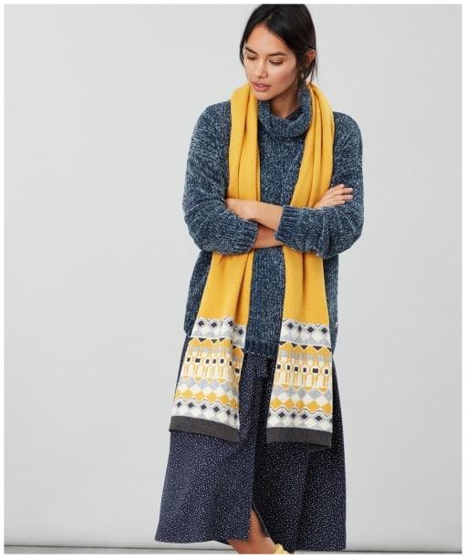 Women's Joules Swirlton Fairisle Knitted Scarf - Gold Fairisle
