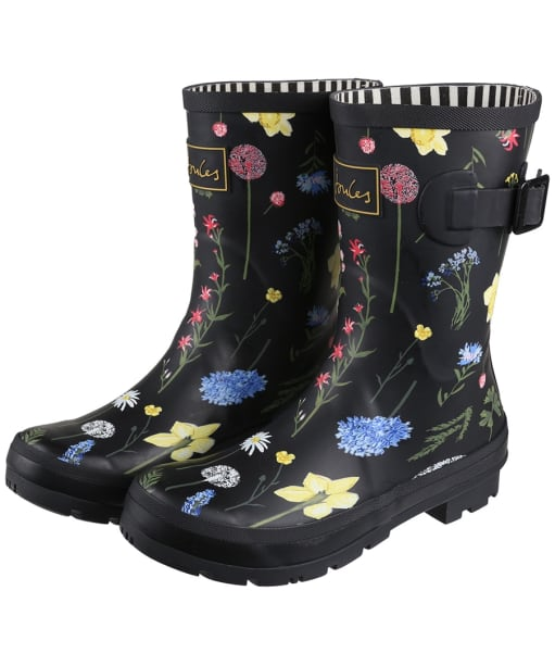 Women's Joules Molly Mid Height Wellies - Black Floral