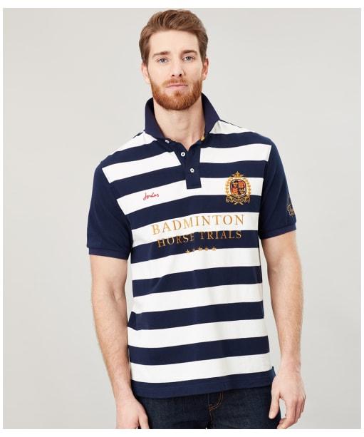 Men's Joules Badminton Horse Trials Polo Shirt - Navy Cream Stripe