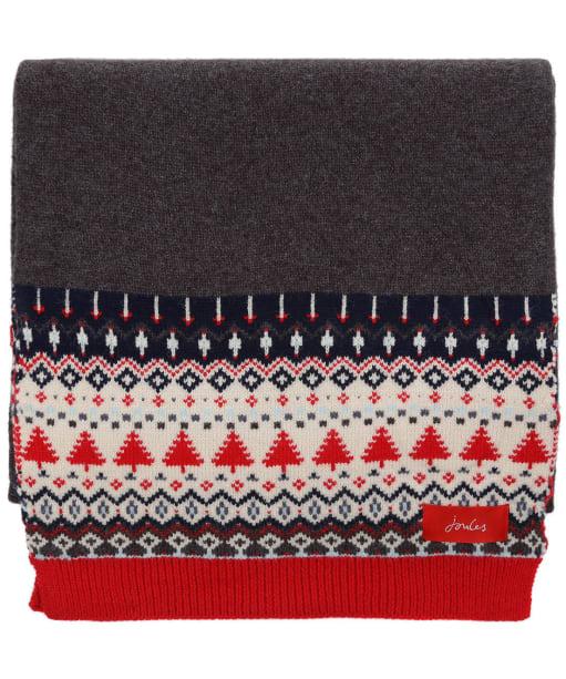 Women's Joules Swirlton Fairisle Knitted Scarf - Grey Fairisle