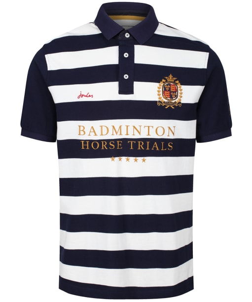 Men's Joules Badminton Horse Trials Polo Shirt - Navy Cream Stripe