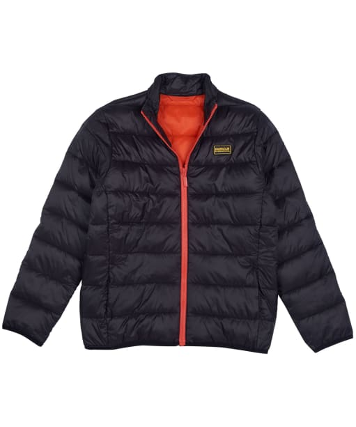 Boy's Barbour International Reed Quilted Jacket, 10-15yrs - Black / Orange