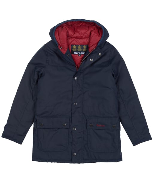 Boy's Barbour Durham Waxed Jacket, 10-15yrs - Navy