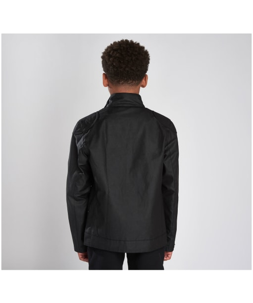 Boy's Barbour International Stove Waxed Jacket - Black