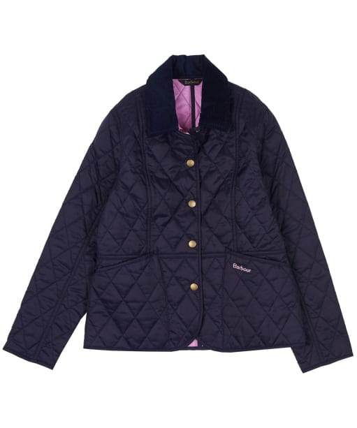 Girls Barbour Summer Liddesdale Quilted Jacket, 10-15yrs - NAVY/MOONL PINK