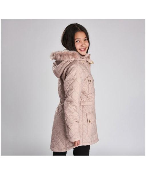 Girl's Barbour International Enduro Quilted Jacket, 10-14yrs - Rose Quartz