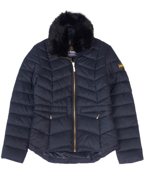 Girl's Barbour International Halfback Quilted Jacket, 10-14yrs - Black