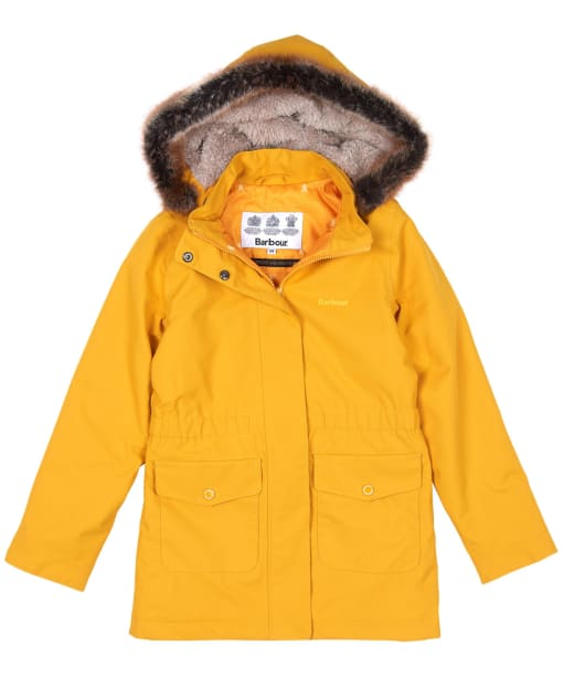 Girls Barbour Bournemouth Waterproof Jacket, 10-15yrs - Ochre