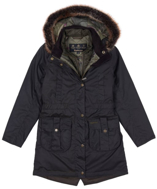 Girls Barbour Homeswood Waxed Jacket, 6-9yrs - Olive